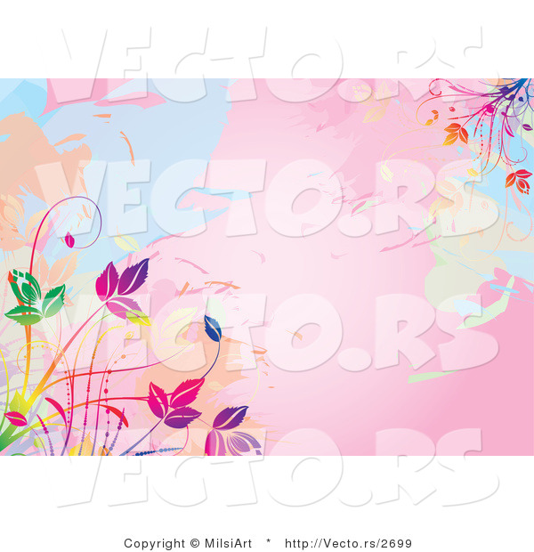 Vector of Pink Watercolors Background with Colorful Vines