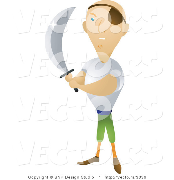 : Vector of Pirate Holding Sharp Sword