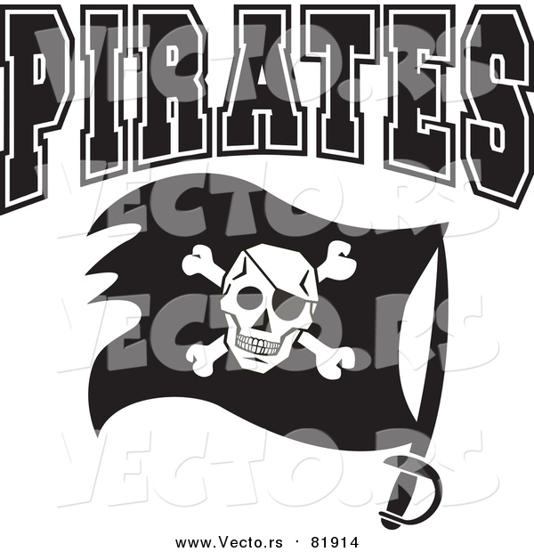 Vector of Pirates Flag with Sword - Sports Team Art