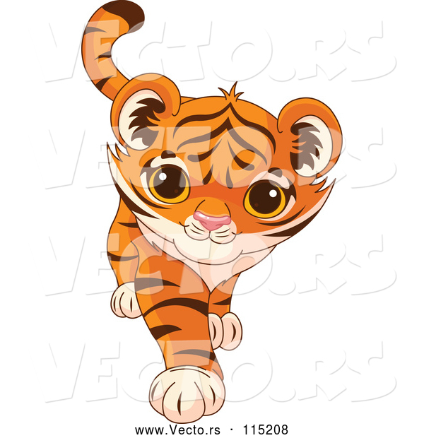 Vector of Playful Tiger Cub Walking