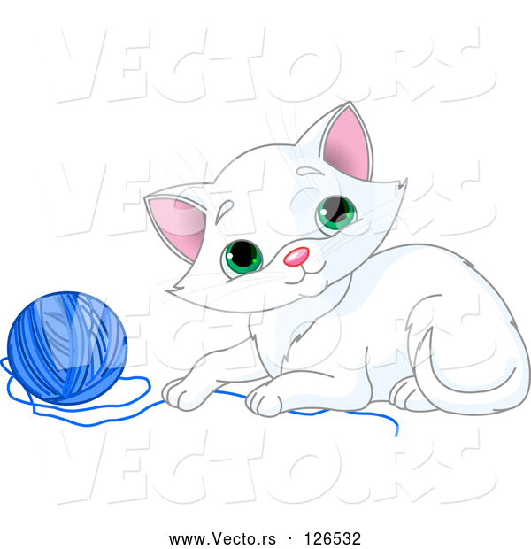 : Vector of Playful White Kitten with a Blue Yarn Ball