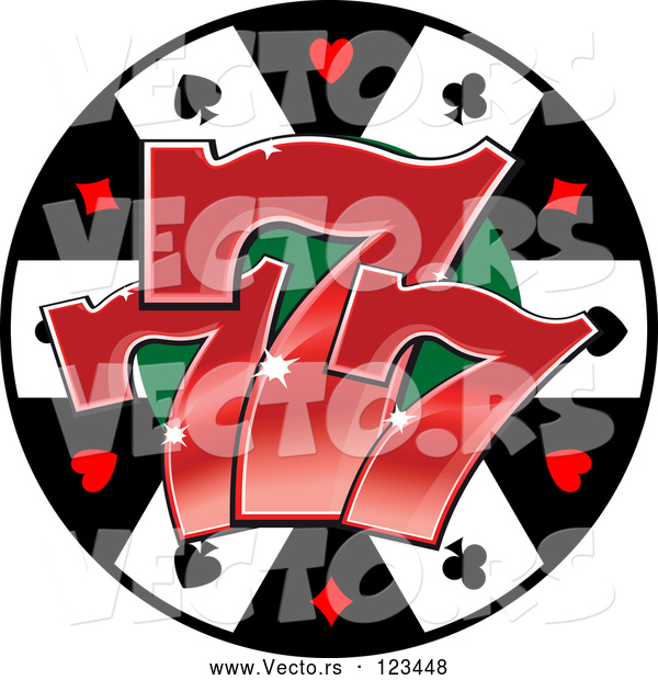 Vector of Poker Chip with Three Lucky Number Sevens