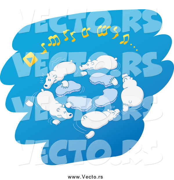 Vector of Polar Bears Playing Musical Ice Chairs over Blue