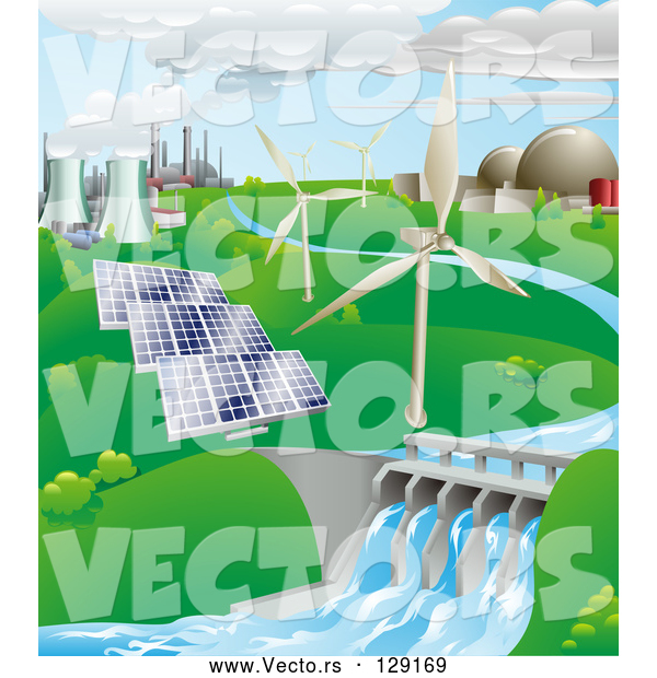 : Vector of Power Generation Farm: Nuclear, Fossil Fuel, Wind Power, Photovoltaic Cells, and Hydro Electric Water