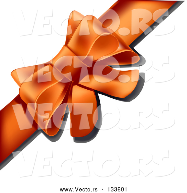 Vector of Present Wrapped with an Orange Bow and Ribbon