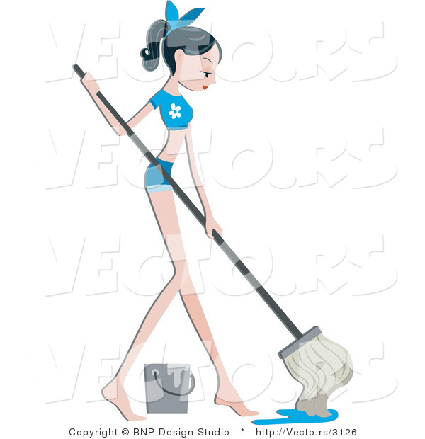 Vector of Pretty Girl Mopping a Floor