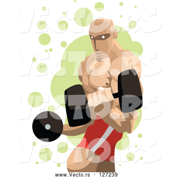 Vector of Professional Strong Guy Lifting Dumbbells