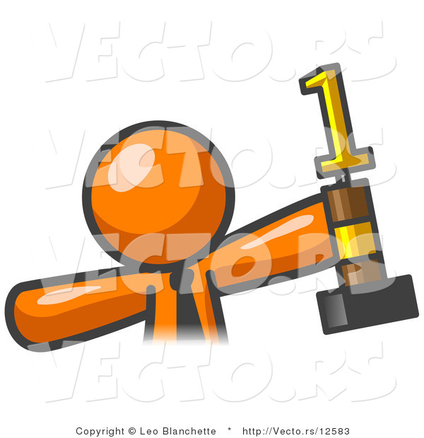Vector of Proud Orange Business Guy Holding up a First Place Trophy