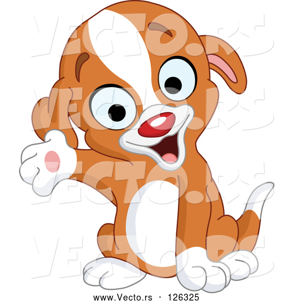 Vector of Puppy Smiling and Presenting with One Paw