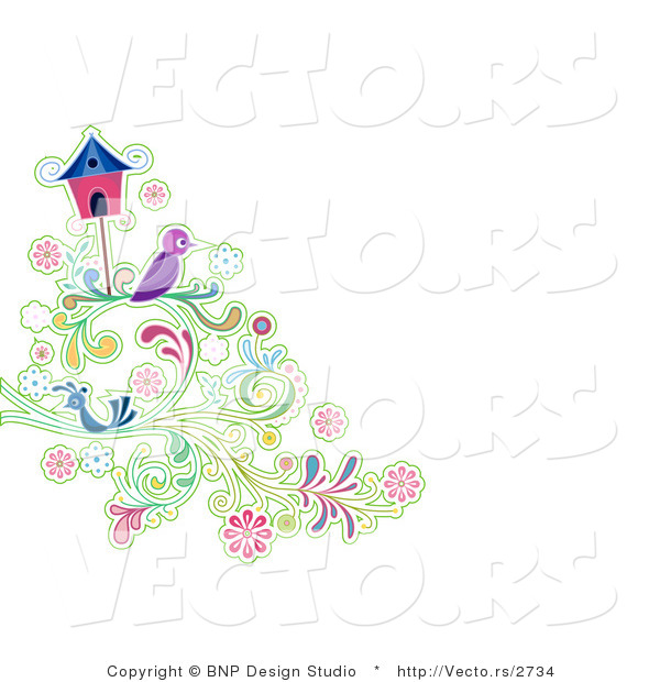 Vector of Purple and Blue Birds Resting on Vines Beside a Bird House