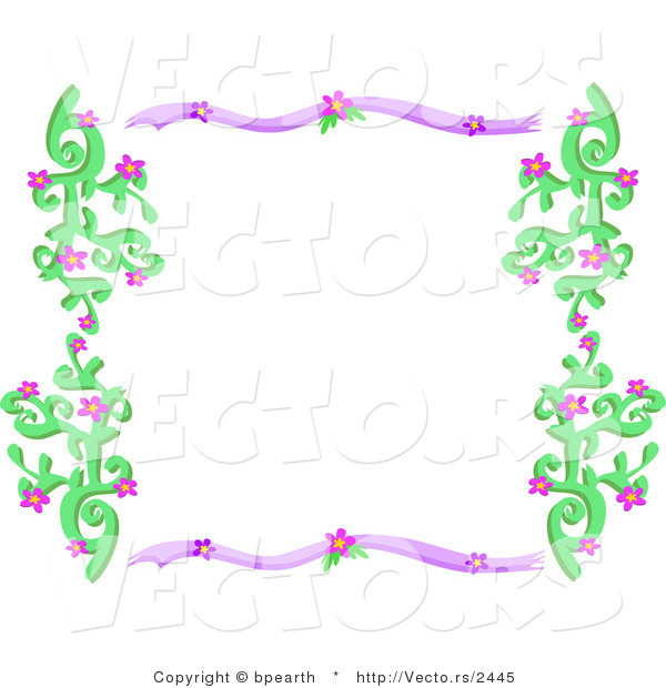 Vector of Purple and Green Border Frame with Vines and Flowers