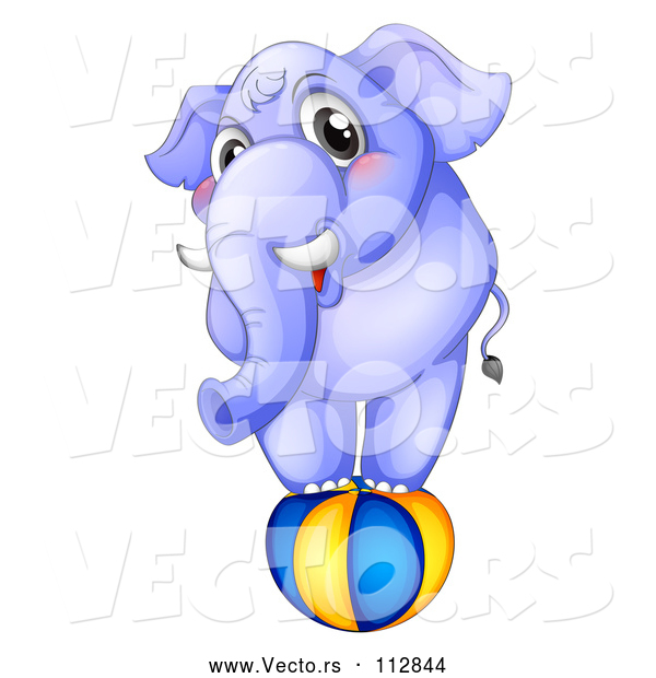 Vector of Purple Elephant Balancing on a Ball