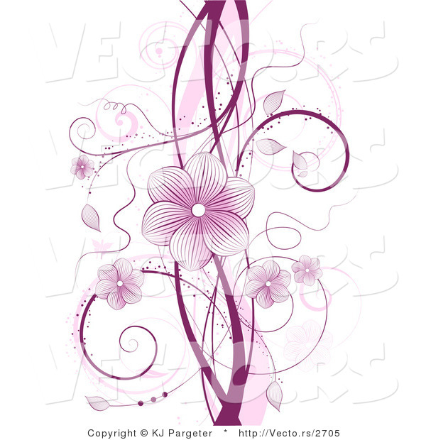 Vector of Purple Floral Vines with Blossoms and Tendrils over White Background Design