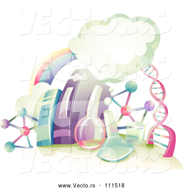 Vector of Rainbow, Clouds, DNA Strand, and Science Equipment Books