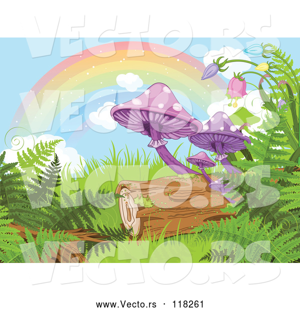 Vector of Rainbow over Mushrooms Ferns and a Log in a Fantasy Forest