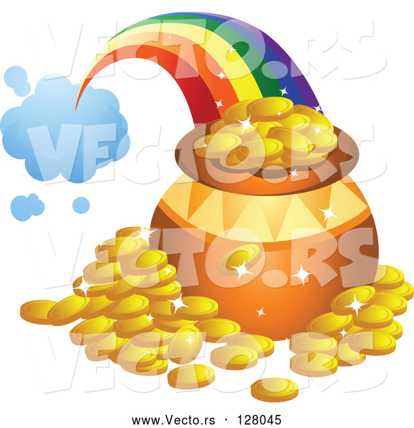Vector of Rainbow Shooting from a Cloud and Landing Behind a Pot of Gold