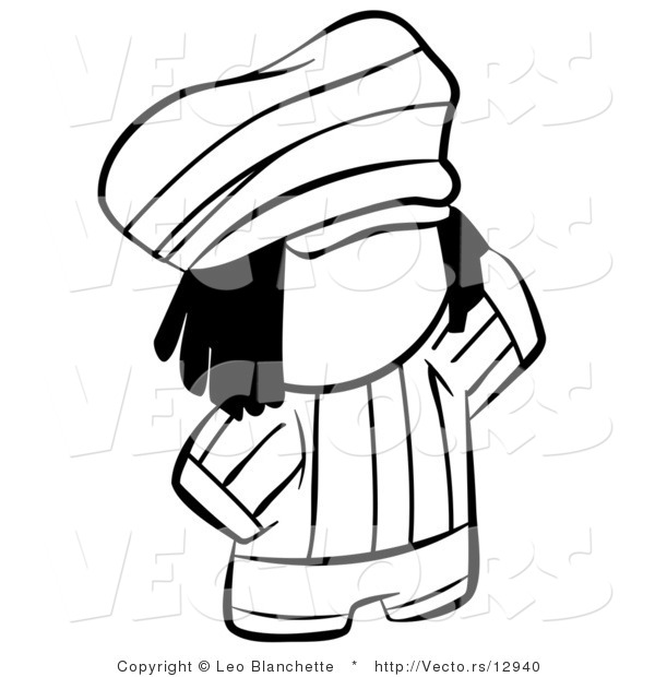 Vector of Rasta Person - Coloring Page Outlined Art