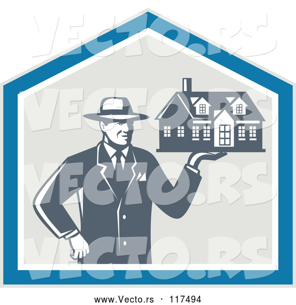 Vector of Real Estate Agent Man Holding a House in a Shield