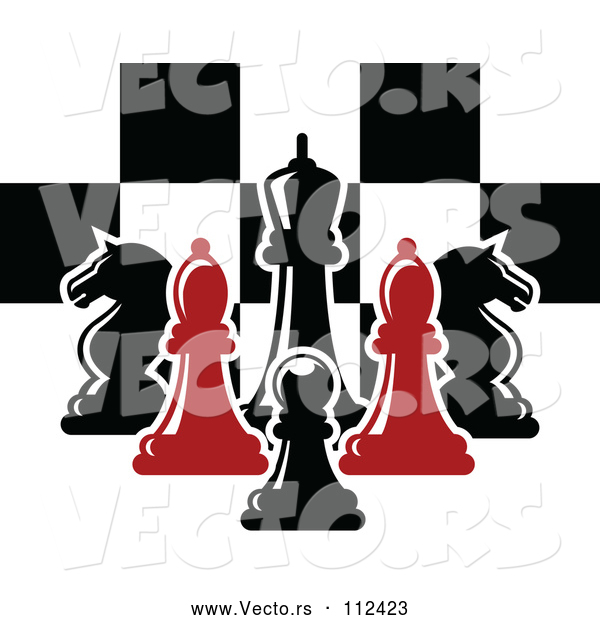 Vector of Red and Black Chess Pieces Against a Checker Board