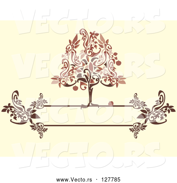 Vector of Red and Brown Apple Tree on a Floral Text Box over Beige