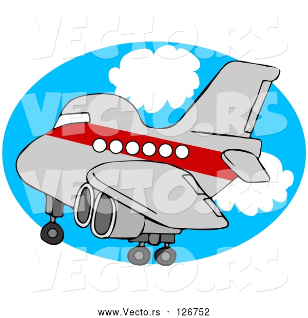 : Vector of Red and Gray Airplane over an Oval of Blue Sky with Clouds