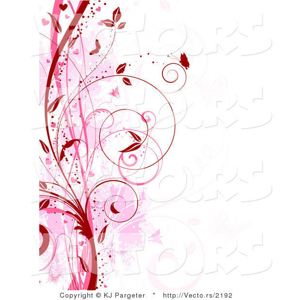 Vector of Red and Pink Floral Grunge Vines with Butterflies - Digital Web Background Border