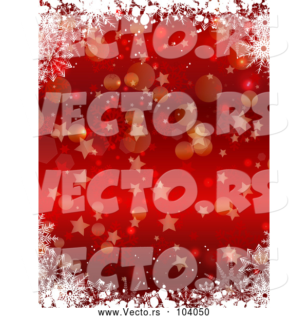 Vector of Red Christmas Background of Snowflakes Bokeh and Stars