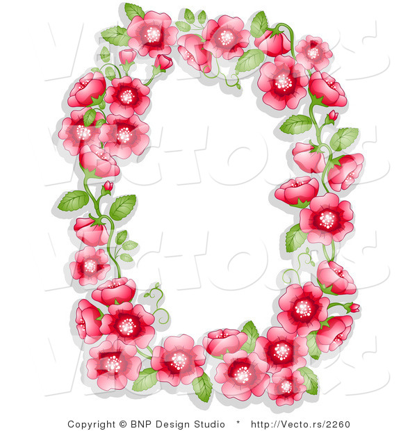 Vector of Red Flowers and Green Leaves Shaping a Frame with Blank ...