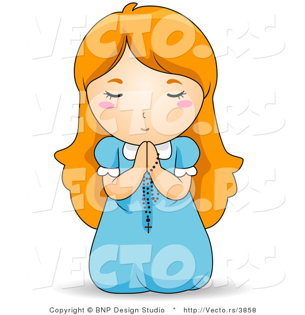 Vector of Red Haired Baby Girl on Her Knees, Praying to God with Rosary