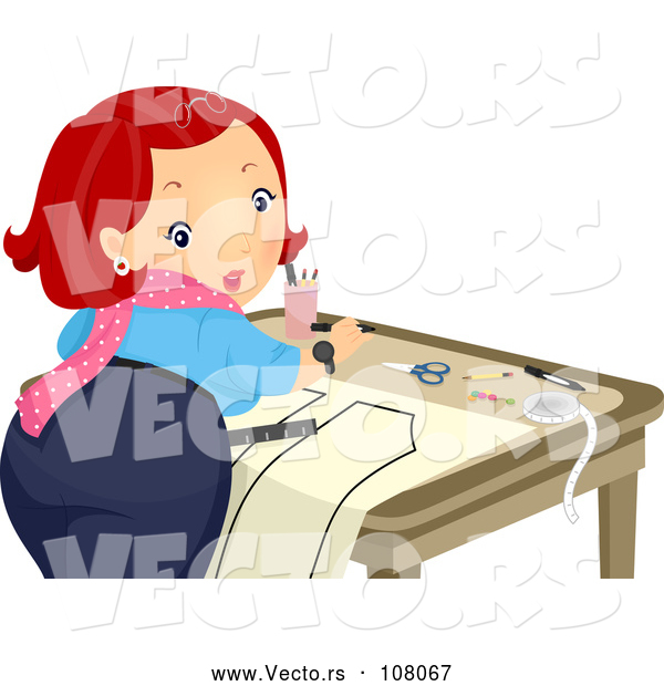 Vector of Red Haired Lady Looking Back While Creating a Sewing Pattern