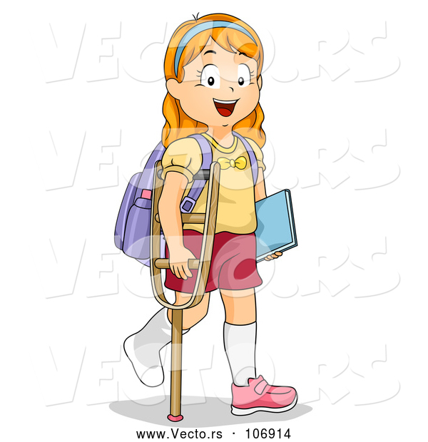 Vector of Red Haired White School Girl Walking with a Crutch