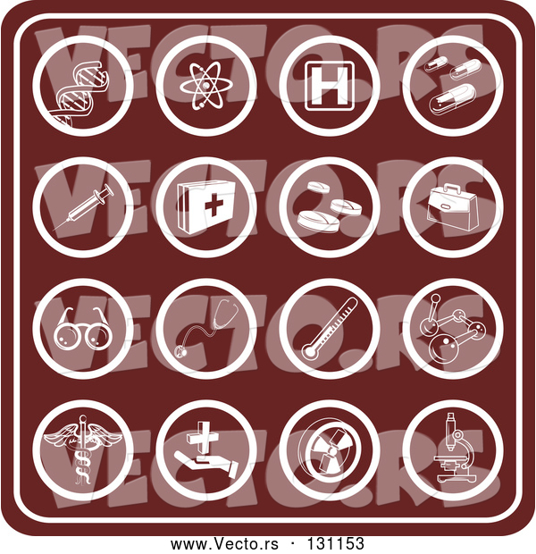 Vector of Red Medical Icons Collage: Dna, Molecules, Hospital Signs, Pills, Syringes, First Aid KChildren, Rx, Doctor Bag, Glasses, Stethoscopes, Thermometers, and Microscopes