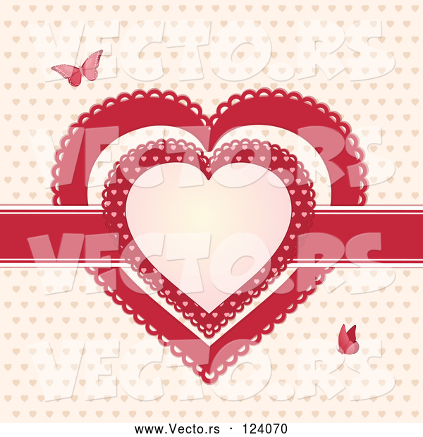 Vector of Red Ribbon and Doily Valentine Hearts with Butterflies