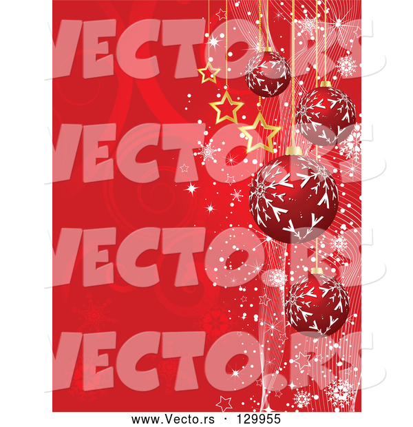 Vector of Red Snowflake Patterned Ornaments and Gold Stars Suspended over a Red Swirl Background with Snowflakes