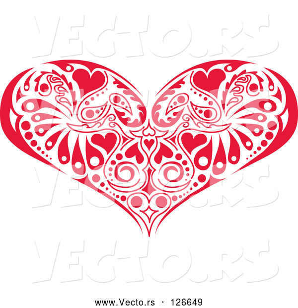 Vector of Red Victorian Heart Design