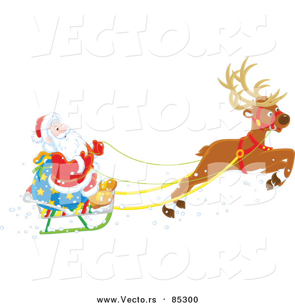 Vector of Reindeer Flying Santa in His Sleigh