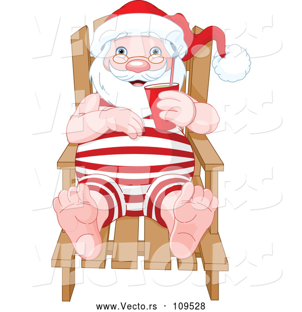 : Vector of Relaxed Santa Sitting in a Beach Chair and Holding a Beverage While Sun Bathing
