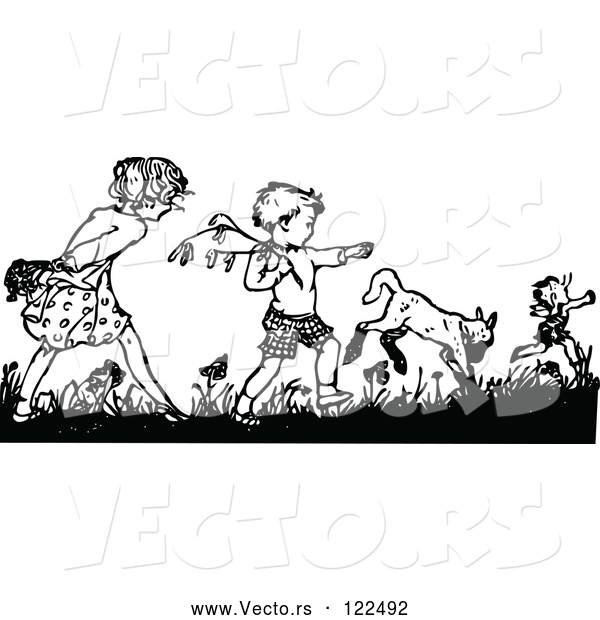 Vector of Retro Black and White Boy and Girl Picking Flowers