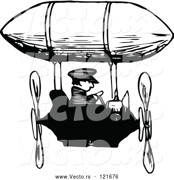 Vector of Retro Black and White Guy Flying an Airship