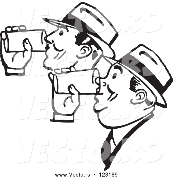 Vector of Retro Black and White Men Drinking Beer Together