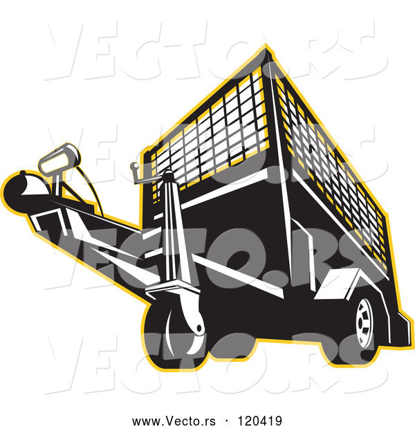 Vector of Retro Black and White Trailer Outlined in Yellow