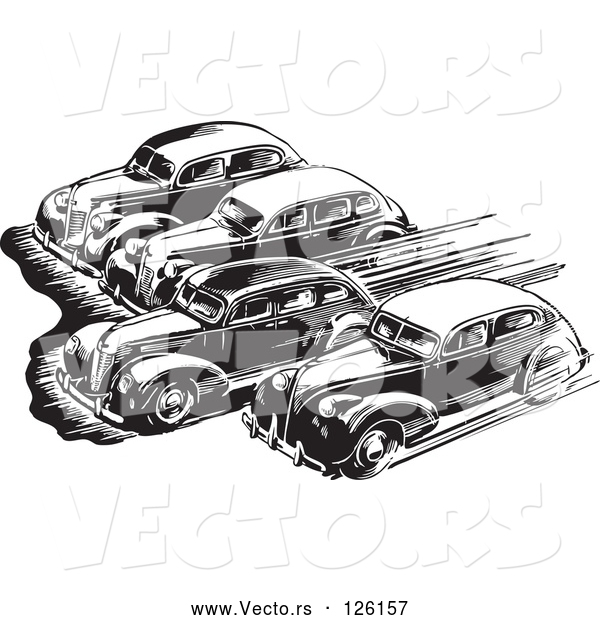 Vector of Retro Black Lineart Cars Taking off in a Race