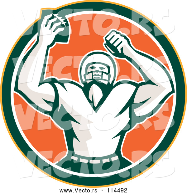 Vector of Retro Cheering American Football Player in a Yellow Green White and Orange Circle