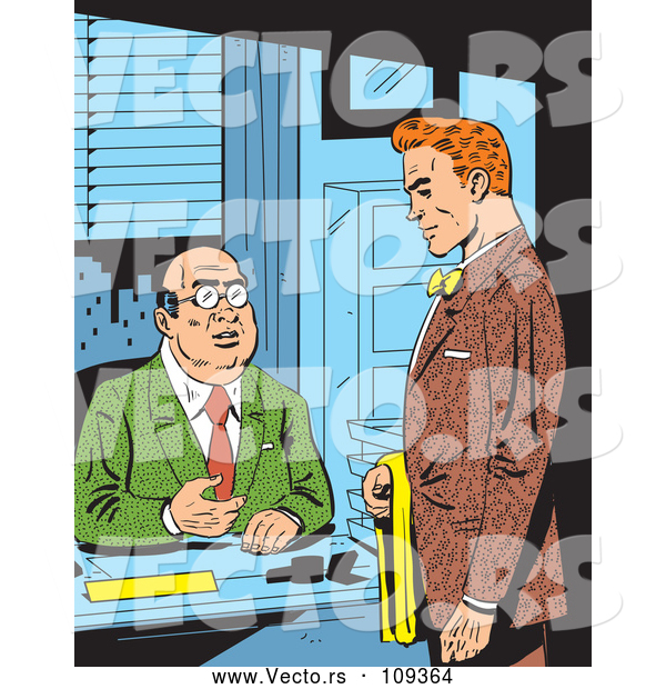 Vector of Retro Comic Styled Red Haired White Business Man Meeting with His Boss