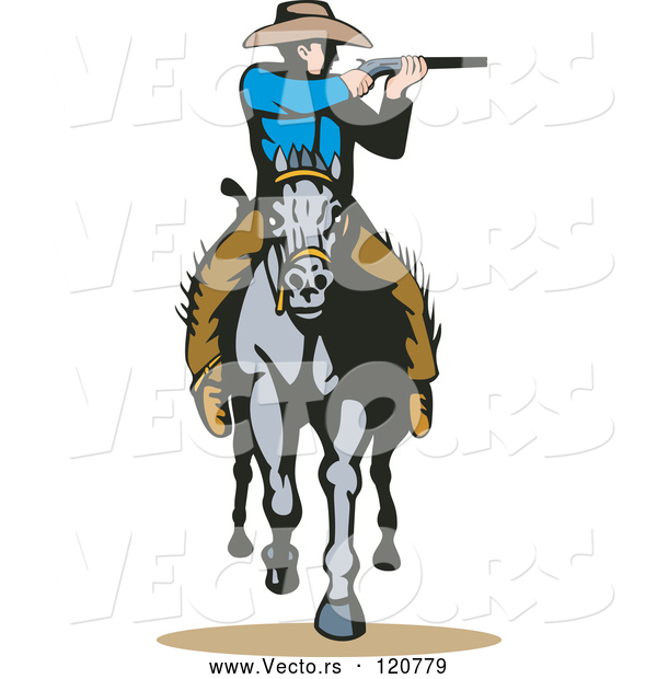 Vector of Retro Cowboy Shooting on Horseback