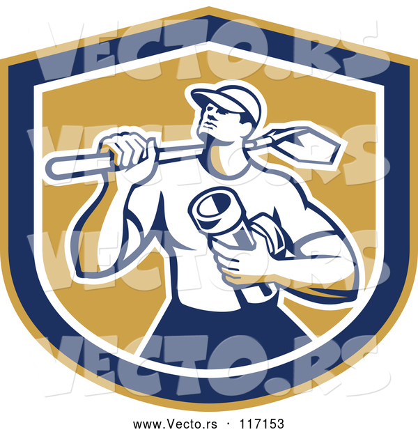 Vector of Retro Drainlayer Guy Carrying a Shovel and Pipe in a Shield