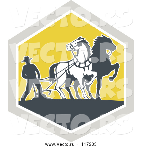 Vector of Retro Farmer and Horses Plowing a Field in a Diamond