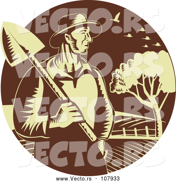 Vector of Retro Farmer Guy Holding a Shovel Against Farmland in a Brown and Yellow Circle