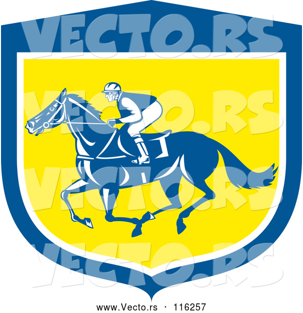 Vector of Retro Jockey Racing a Horse in a Blue White and Yellow Shield