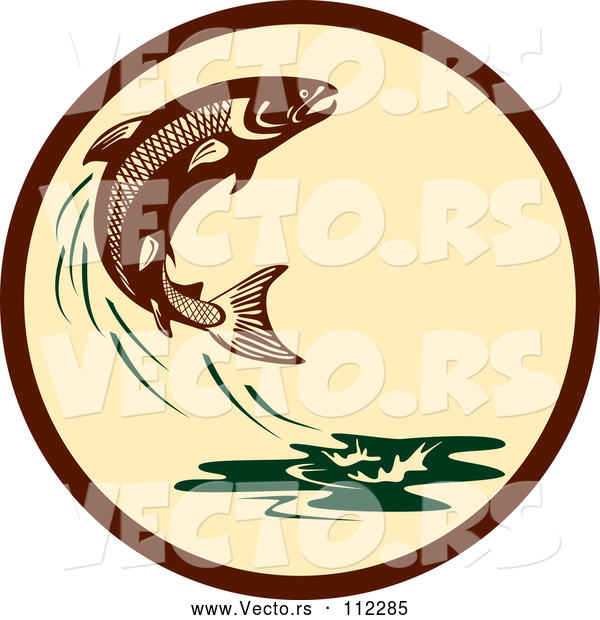 Vector of Retro Leaping Atlantic Salmon Fish and Green Water Splash in a Brown and Tan Circle
